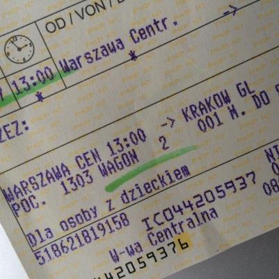 Bilet na pociąg ze zniżką dla dziecka